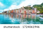 The magical landscape of the harbor with colorful houses in the boats in Porto Venere, Italy, Liguria - stock photo