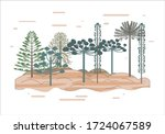 araucaria tree background.... | Shutterstock .eps vector #1724067589