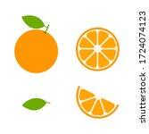 orange set vector icon... | Shutterstock .eps vector #1724074123