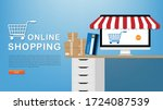 online shopping concept desktop ... | Shutterstock .eps vector #1724087539