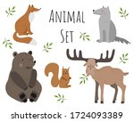 vector collection with animals... | Shutterstock .eps vector #1724093389