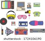 set of vintage retro 1980s...   Shutterstock .eps vector #1724106190