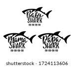 mama  papa  baby sharks. hand... | Shutterstock .eps vector #1724113606
