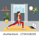sport exercise at home. woman... | Shutterstock .eps vector #1724118220