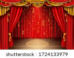 empty red curtain stage with... | Shutterstock .eps vector #1724133979