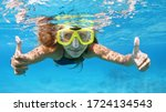 Small photo of Happy family - active young woman in snorkeling mask dive underwater, see tropical fishes in coral reef sea pool. Travel adventure, swimming activity and watersports on summer beach cruise with kids.