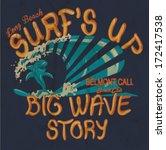 vector retro surf cartoon shark ... | Shutterstock .eps vector #172417538