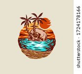 skull summer beach t shirt...   Shutterstock .eps vector #1724178166
