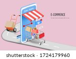 shopping cart with box and... | Shutterstock .eps vector #1724179960