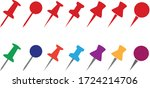 set push pin  drawing pin  sign ... | Shutterstock .eps vector #1724214706