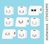 cute toilet paper roll vector... | Shutterstock .eps vector #1724216593