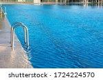 Steel Railings Stairs In A Pool ...