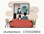 families watching the news at... | Shutterstock .eps vector #1724225803