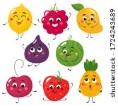 set of cute cartoon fruits.... | Shutterstock .eps vector #1724243689