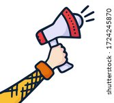 a hand is holding a megaphone... | Shutterstock .eps vector #1724245870