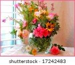 vector flowers by window