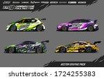 sport car wrap decal designs... | Shutterstock .eps vector #1724255383