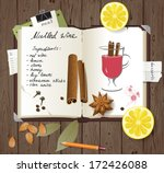mulled wine recipe in a cook... | Shutterstock .eps vector #172426088