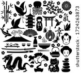 symbols of japan. vector flat... | Shutterstock .eps vector #1724263873