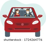 people inside the car wearing... | Shutterstock .eps vector #1724264776