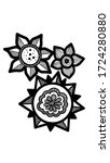 illustration 3 simple flowers... | Shutterstock . vector #1724280880
