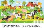 farm animals vector cartoon... | Shutterstock .eps vector #1724318023
