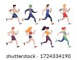 jogging people. outdoor...   Shutterstock .eps vector #1724334190