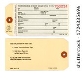 vintage service tag  front and... | Shutterstock . vector #1724335696