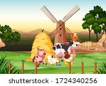 Farm Scene With Many Animals On ...