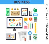 set of office and business work ... | Shutterstock .eps vector #172436210