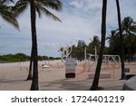 Small photo of MIAMI, USA - MAY 3, 2020: FREE Gym Miami My Equilibria, South Beach. Calisthenics Public Gym. Ocean Drive, by the beach. Florida Public sport. A beach workout at a free gym in the great outdoors