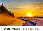 Winter Sunset Nature Landscape...