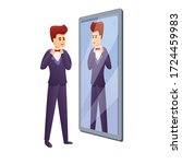 groom in mirror icon. cartoon...   Shutterstock .eps vector #1724459983