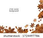 star anise background. flying... | Shutterstock . vector #1724497786