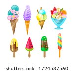 set of ice cream icons in flat... | Shutterstock .eps vector #1724537560