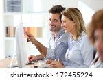 workteam in office working on... | Shutterstock . vector #172455224