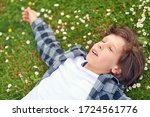 portrait of calm young male... | Shutterstock . vector #1724561776