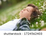portrait of calm young male... | Shutterstock . vector #1724562403