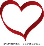 3 d red heart   outline drawing ... | Shutterstock .eps vector #1724573413