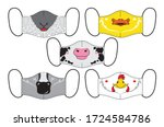 set of designs reusable mouth... | Shutterstock .eps vector #1724584786
