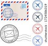 blank envelope and postmark...   Shutterstock .eps vector #1724586319