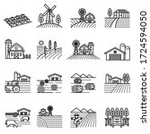 farm landscape and farming... | Shutterstock .eps vector #1724594050