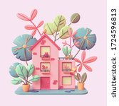 cute pink cozy eco house with...