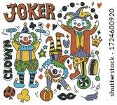 hand drawn set of cute clown... | Shutterstock .eps vector #1724600920