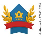 heraldic shield with crown and... | Shutterstock .eps vector #1724618986