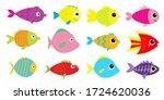 fish icon set. cute cartoon...   Shutterstock .eps vector #1724620036