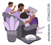 black family in a video call... | Shutterstock .eps vector #1724622130