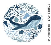 illustration with whales.... | Shutterstock .eps vector #1724658529