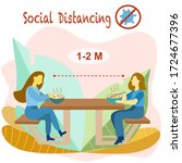 social distancing eat covid 19... | Shutterstock .eps vector #1724677396