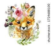 Cute Watercolor Cartoon Fox....